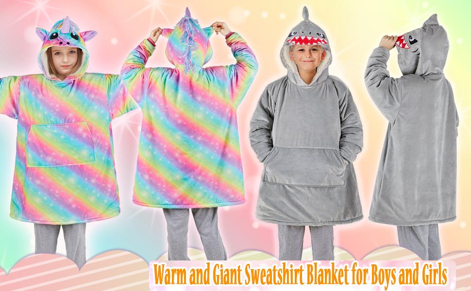 Basumee Oversized Unicorn Hoodie Blanket Sweatshirt For Kids Giant Sherpa Hoodie Sweatshirt Blankets Warm Thick Wearable With Pocket For Girls Amazon Co Uk Kitchen Home