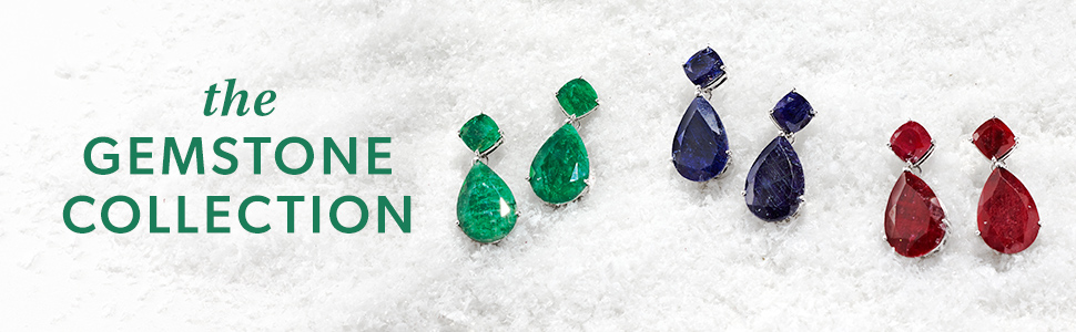 gemstone collection, emerald drop earrings, sapphire drop earrings, ruby drop earrings