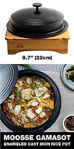 Rice pot small rice cooker Korean stone bowl induction cookware gamasot ddukbaegi Enameled Cast Iron
