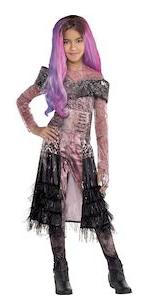 audrey costume, pink jumpsuit, pink and purple wig, jumpsuit, belt, black peplum, fingerless glove