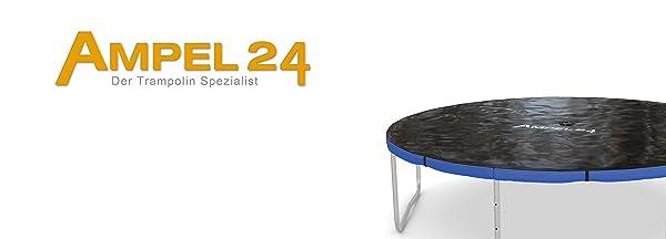 Ampel 24 trampoline in zilver met blauwe randbekleding en afdekzeil als regenbescherming en tegen vuil.