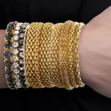 gold bangle set black rhinestone stretch bracelet jewelry textured stacking bracelets tennis big