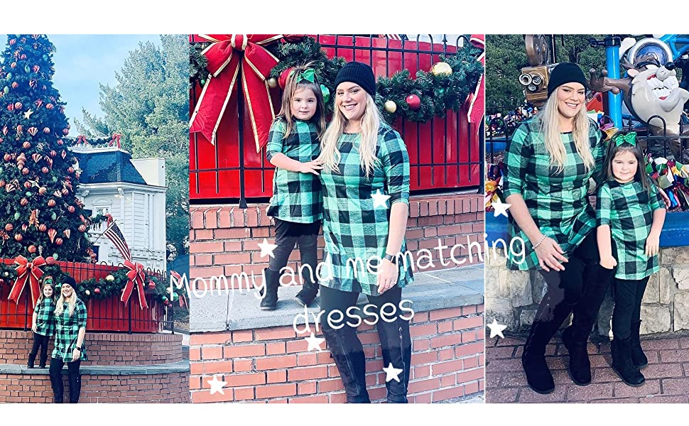 Mom Size 6-8, Green Qin.Orianna Mommy and Me 3 4 Sleeve Plaid Family Matching Tunic Dress with Pocket for Christmas Photo Shoot