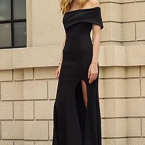 Off The Shoulder One Sleeve Slit Maxi Wedding Prom Dress