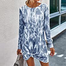 Ladies Summer Short Dresses Tie Dye Print Tunic Dress For Party