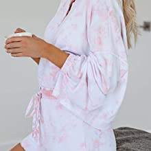 Womens Pajamas Set Loungewear Nightwear Sleepwear Tie Dye Printed Ruffle Short LongSleeve Tee Pants