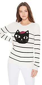 YEMAK Women's Striped Pattern Black Cat Crewneck Casual Jacquard Sweater