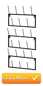 Set of 3 Black Metal Wall-Mounted Coffee Mug Storage Rack, 21-Hooks Total