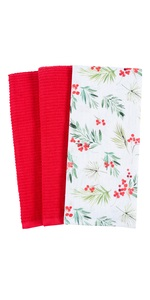 holiday winter merry christmas gift kitchen dish towel cotton terry holly