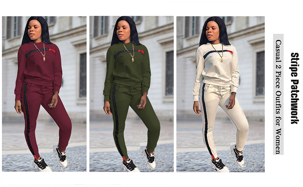 Women striped patchwork 2 piece tracksuit outfits