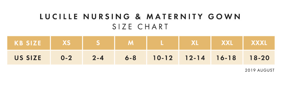 Lucille Size Chart