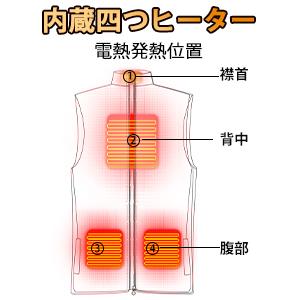 電熱ベスト 4つヒーター