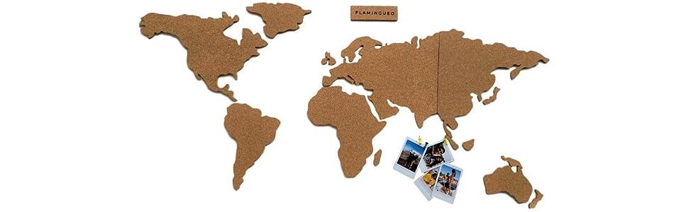 Flamingueo Mapa Mundi Corcho Pared - Mapamundi Grande con Chinchetas para Fotos, Mapa Mundi Pared para Marcar Viajes, Mapamundi Corcho para Pared, Mapa Mundo, 45,5 x 100 cm (Mapa Mundi Corcho): Amazon.es: