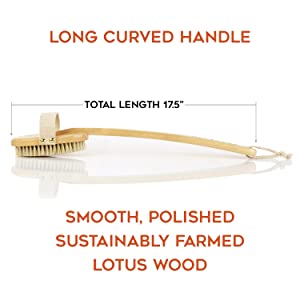 lotus wood sustainably farmed long curved handle all natural wood