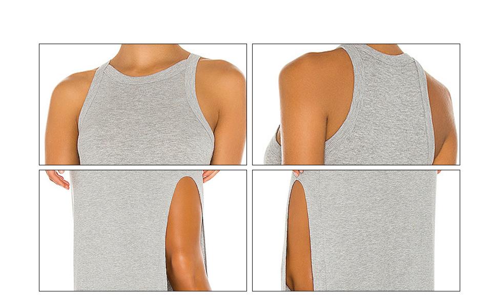 womens tank top dress for women high slit long bodycon dress round neck dress for t-shirt dresses