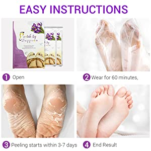 Easy instructions steps showing box 2 packets, wear 60 minutes, peeling starts, end results