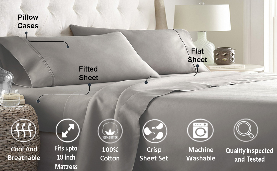 Ultimate Percale 400 Thread Count Cotton Bed Sheet Set King Queen Sheets Percale Weave Bedsheets