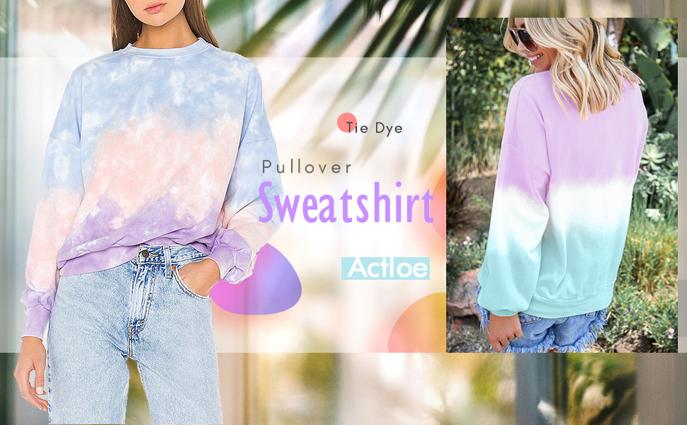 Alangbudu Womens Casual Color Block Tie Dye Crewneck Long Sleeve Loose Pullover Sweatshirt Tops Hoodie Blouse Sweater