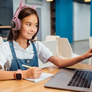 Kopfhörer für Online-Kurse rosa Kopfhörer Bluetooth Roségold Kopfhörer für Kinder Kopfhörer