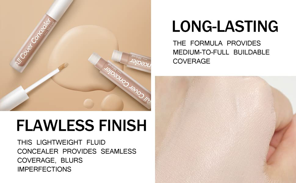 medium to full coverage liquid concealer cream corrector make-up long lasting natural face concealer