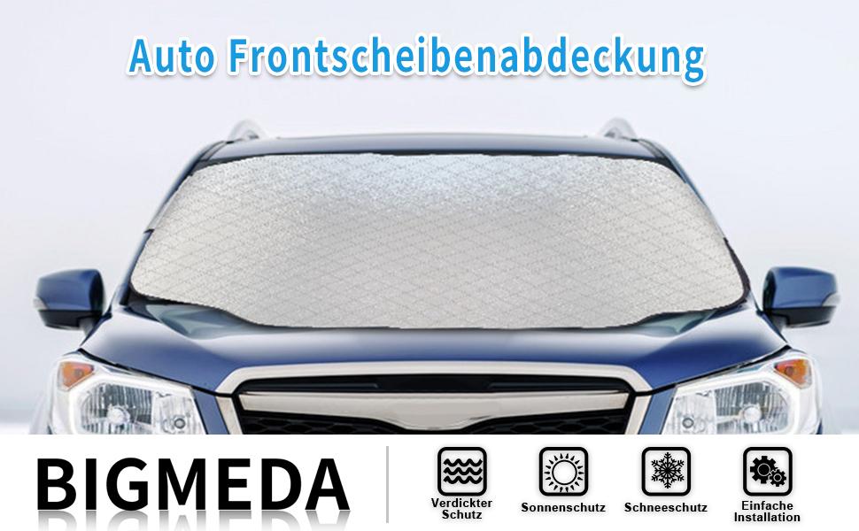 Bigmeda Frontscheibenabdeckung Auto Sonnenschutz Windschutzscheiben Abdeckung 3 Magnet Uv Schutz Für Sommer Wintergegen Schnee Eis Frost Staub Faltbare Abnehmbare 147x116cm Auto