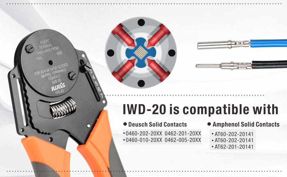 IWISS IWD-16 Closed Barrel Crimp Tool for Deutsch/&Amplhenol Contacts-0.8-2mm/²