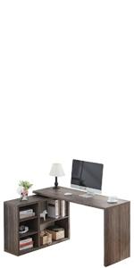 l computer desk with shelf