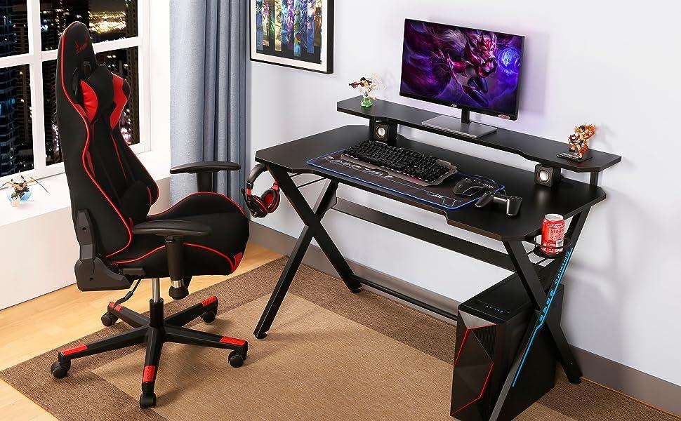 Black Red hydra gaming desk set chair shelf