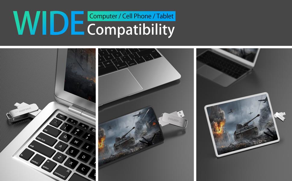 64GB USB 3.1USB C Thumb Drive, 2 in 1 OTG Dual Jump Drive, Metal USB C USB Stick for MacBook Pro