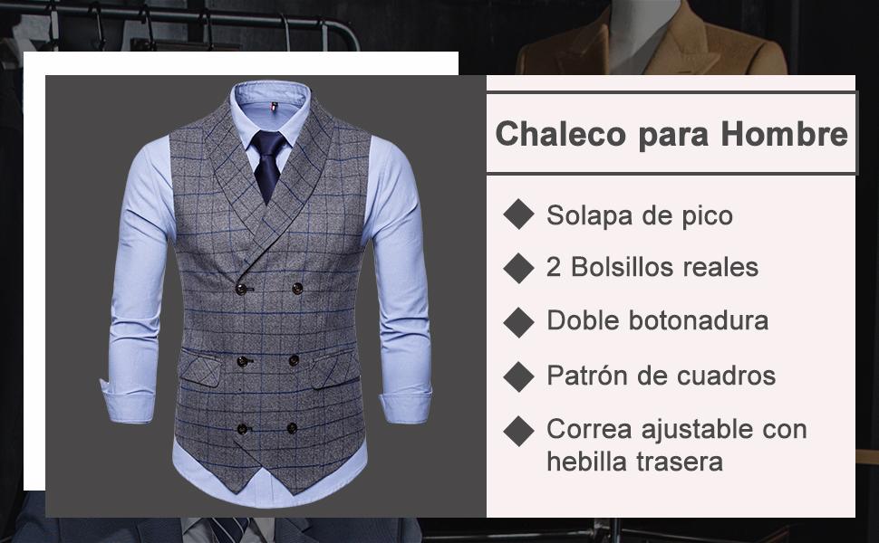 Bmeigo Chaleco para Hombre Manga Chalecos Slim Fit Tweed de Cuello ...