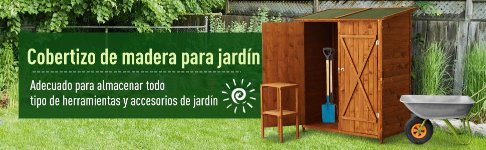 HOMCOM Gabinete Caseta Herramientas Jardín 75x140x160cm Cobertizo Armario de Madera Maciza 2 Puertas: Amazon.es: Jardín