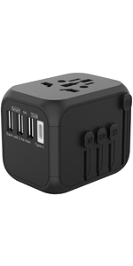 3 USB & Type C Travel Adapter Black