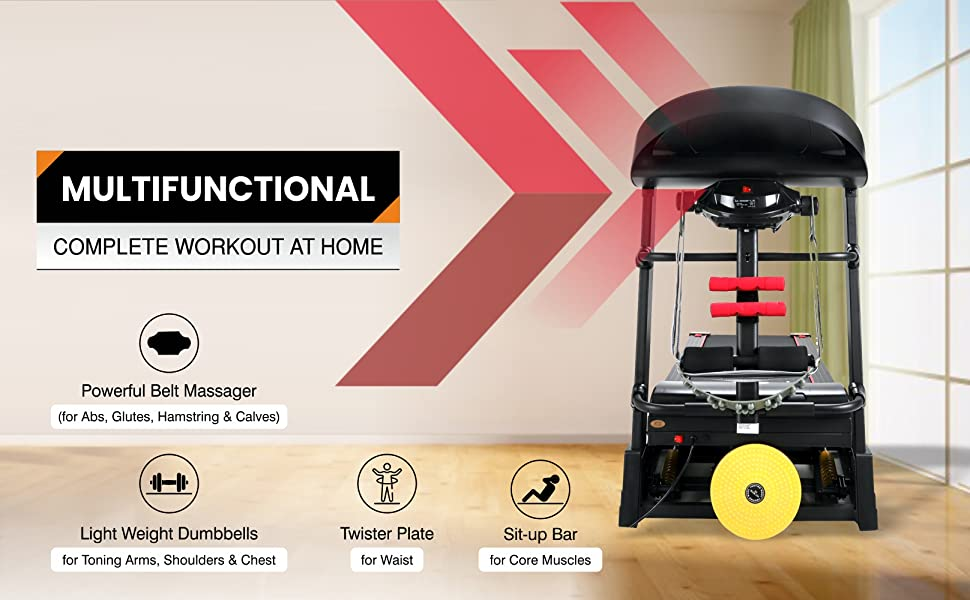 SPARNOD FITNESS STH-4200 Automatic Motorized Foldable Treadmill Home Use Massager  Auto-Incline