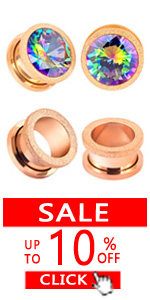 4Pcs Rosegold Surgical Steel Cubic Zirconia Ear Gauges Tunnels