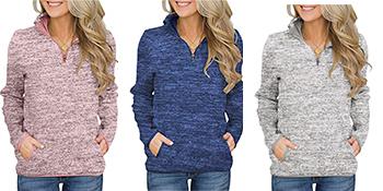 1/4 zip pullovers for women
