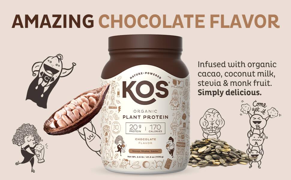 KOS Vegan Plant Based Protein chocolate pea cocoa organic