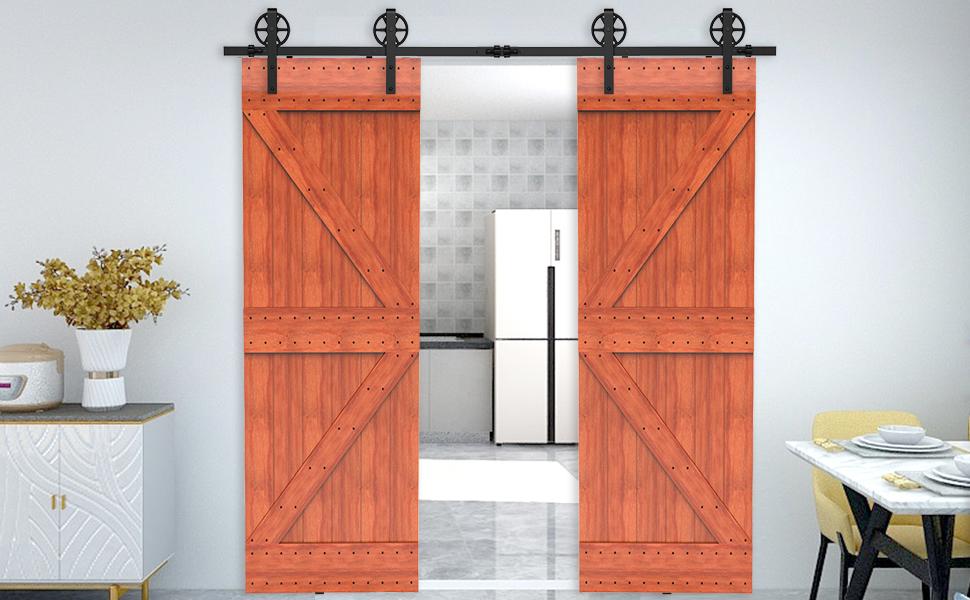 292CM/9.6FT Herraje para Puerta Corredera Kit de Accesorios, Guia Riel Puertas Correderas, Rueda grande Forma J: Amazon.es: Bricolaje y herramientas