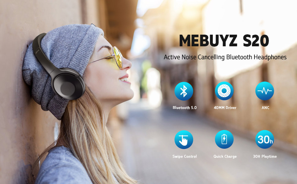 Active Noise Cancelling Headphones Bluetooth Headphones with Microphone Deep Bass