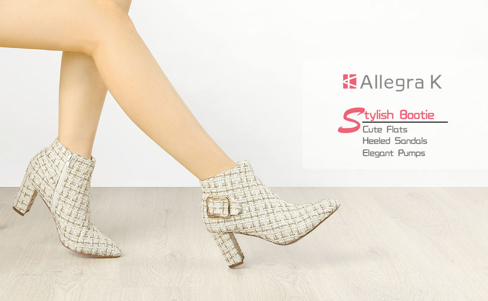 Allegra K Women's Plaid Pointed Toe Chunky Heel Ankle Boots