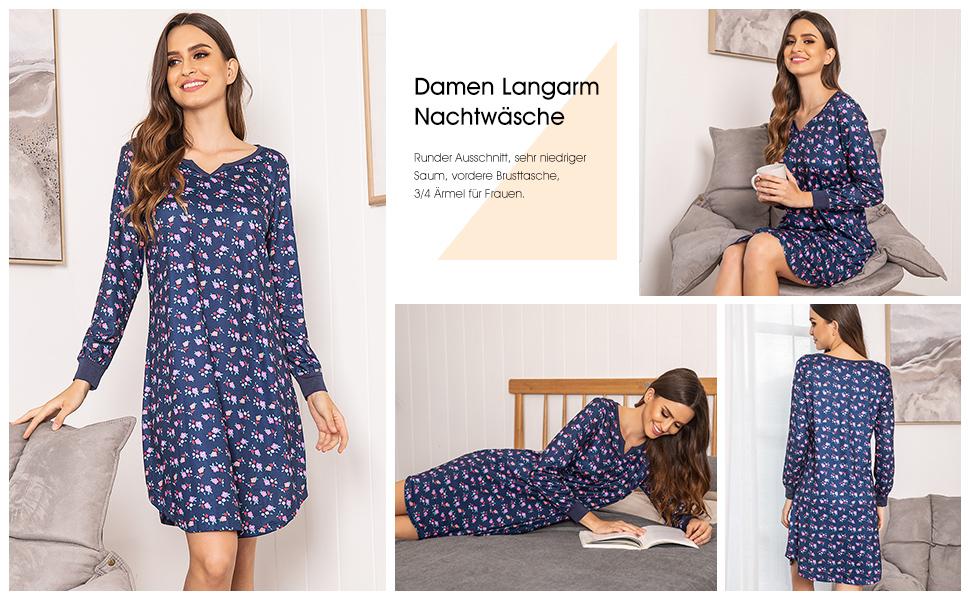 Zexxxy Damen Bequemes Langarm-Schlafhemd Nachtwäsche Nachthemd Nachthemd Mode