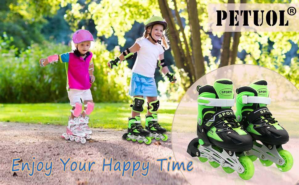 Up Sport PETUOL Safe SkatesAdjustable and Kids Light Outdoor Durable Full Roller Illuminating with WheelsFashionable Children All Inline 8 Skates 92WDHEIY