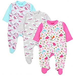TupTam Baby Girls Sleepsuit Without Feet Pack of 2