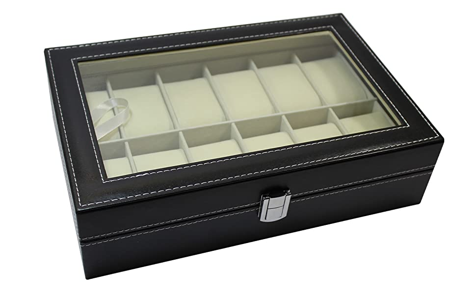 Caja para Relojes. Caja para Guardar 12 Relojes. Joyero Expositor para almacenaje de Relojes. Estuche para Relojes y ...
