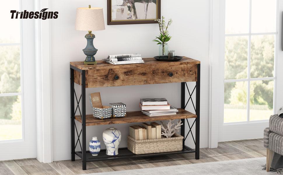Console à 3 niveaux pour canapé, bibliothèque, entrée, rangement, salon, entrée
