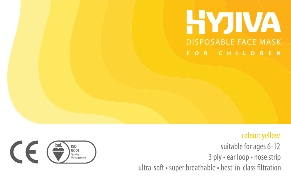 hyjiva disposable 3-ply face mask kids children yellow