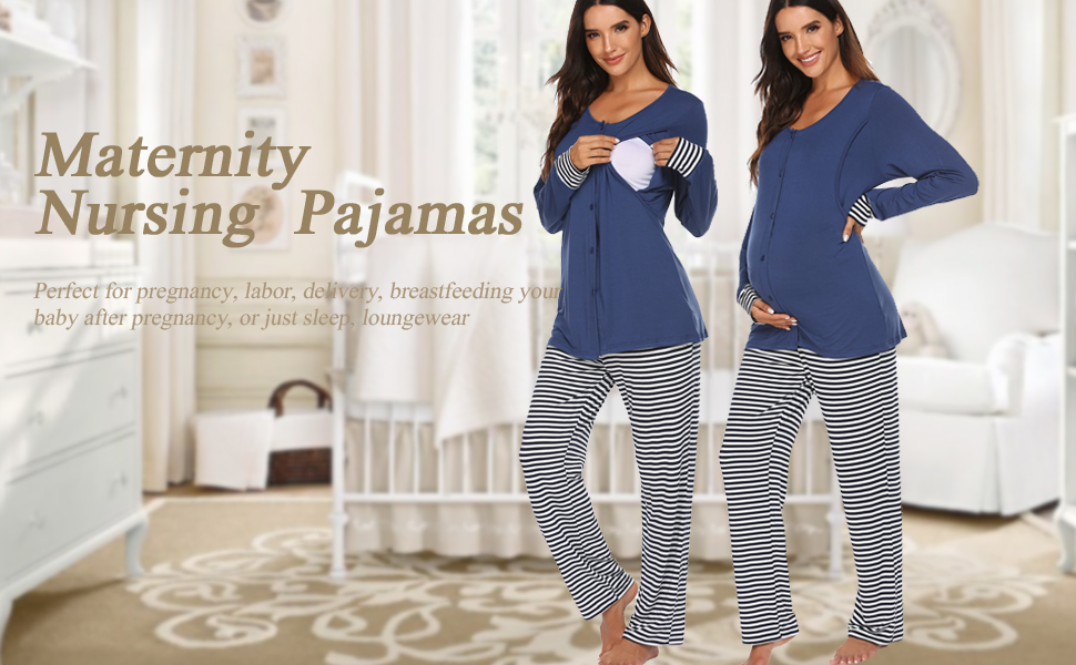 ekouaer women nursing maternity pajama set