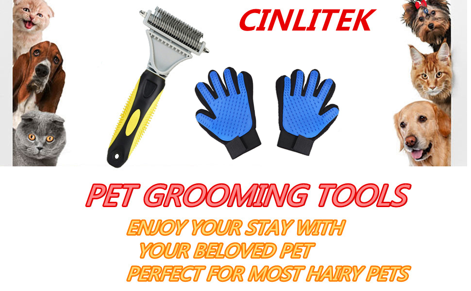pet grooming tools(Grooming Rake and Pet Hair Remover Glove)
