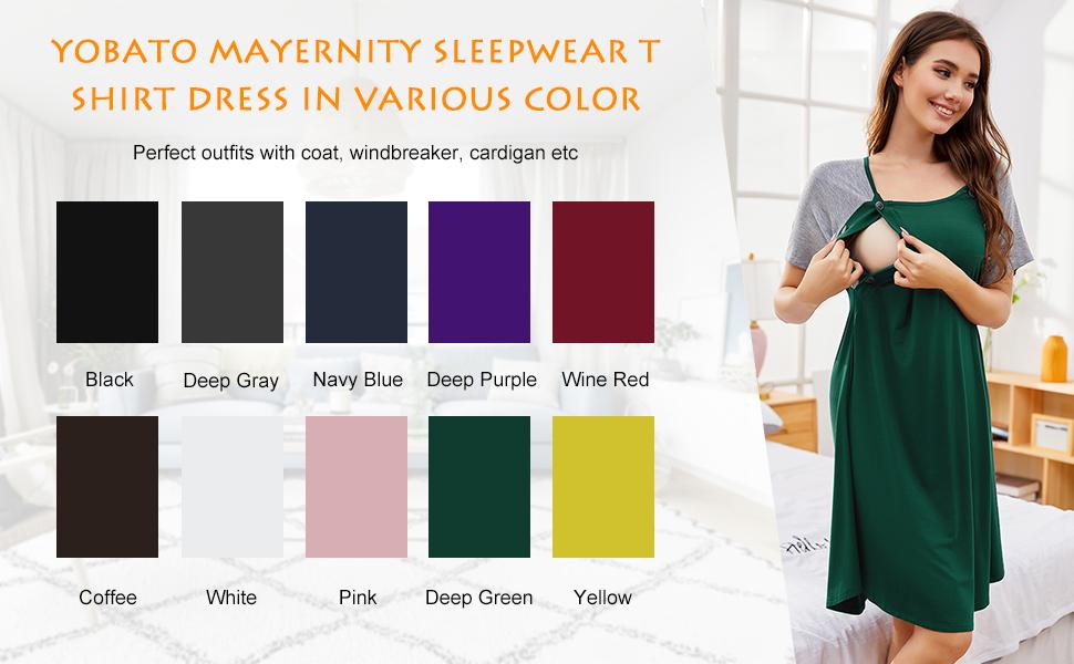 YOBATO MATERNITY SLEEPWEAR T SHIRT DRESS IN VARIOUS COLORS