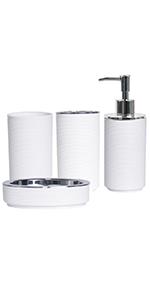 4 piece white bath accessories with swirl
