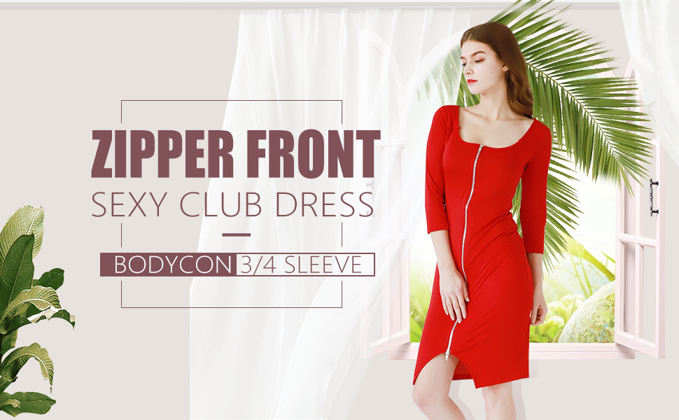 YMING zIPPER front dress